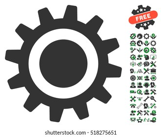 Cog icon with bonus options icon set. Vector illustration style is flat iconic green and gray symbols on white background.
