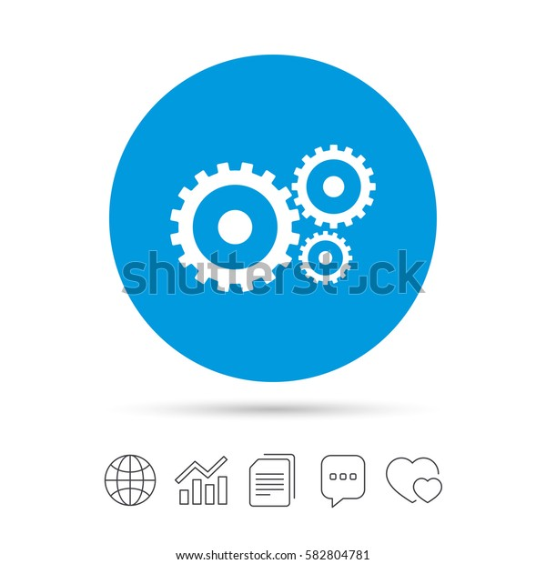 Cog settings sign icon. Cogwheel gear mechanism symbol. Copy files, chat speech bubble and chart web icons. Vector