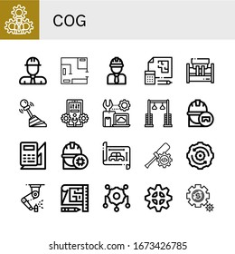 cog simple icons set. Contains such icons as Settings, Engineer, Blueprint, Machinery, Gear, Configuration, Pulley, Engineering, Setting, can be used for web, mobile and logo