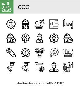 cog simple icons set. Contains such icons as Manufacture, Gear, Engineer, Machinery, Blueprint, Developer, Setting, Development, Settings, can be used for web, mobile and logo