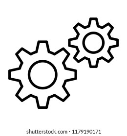 Cog symbol, settings conception. Flat icon for apps and websites. Thin line icon isolated on white background.
