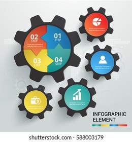 Cog symbol template vector infographic set  4 options.  Abstract modern design can used for banner diagram workflow and web design layout,  presentation templates background.