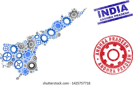 Cog vector Andhra Pradesh State map collage and seals. Abstract Andhra Pradesh State map is designed of gradient random gearwheels. Engineering geographic plan in gray and blue colors,