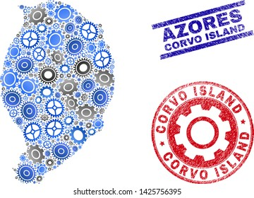 Cog vector Corvo Island map collage and stamps. Abstract Corvo Island map is formed from gradient randomized gearwheels. Engineering territory scheme in gray and blue colors,