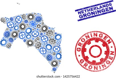 Cog vector Groningen Province map mosaic and seals. Abstract Groningen Province map is created of gradient scattered gear wheels. Engineering territory scheme in gray and blue colors,