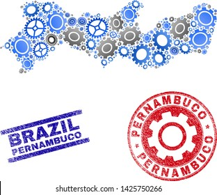 Cog vector Pernambuco State map mosaic and stamps. Abstract Pernambuco State map is created of gradiented random gear wheels. Engineering geographic scheme in gray and blue colors,