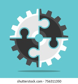 Cog wheel assembled of white and black puzzle pieces on turquoise blue background. Teamwork, cooperation and partnership concept. Flat design. Vector illustration, no transparency, no gradients