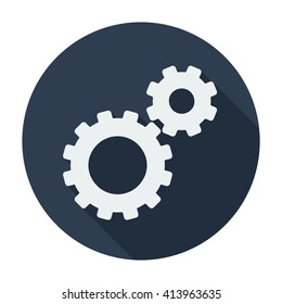 Cog wheel Icon flat sign/symbol/sticker. For settings mobile user interface