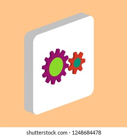Cog Wheel Simple vector icon. Illustration symbol design template for web mobile UI element. Perfect color isometric pictogram on 3d white square. Cog Wheel icons for you business project