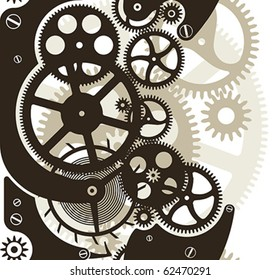 Cog wheels work. Vector pattern seamless by vertical.