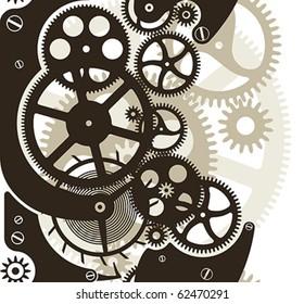 Cog wheels work. Vector pattern seamless by vertical.