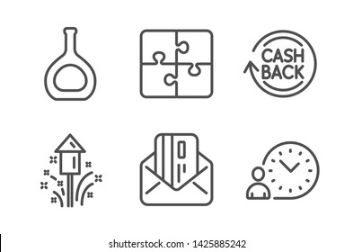 Cognac bottle, Credit card and Fireworks icons simple set. Cashback, Puzzle and Time management signs. Brandy alcohol, Mail. Business set. Line cognac bottle icon. Editable stroke. Vector