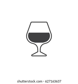 Cognac or brandy glass icon.