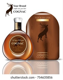 Cognac packaging design Vector. Realistic product with brand vintage label. Place for text