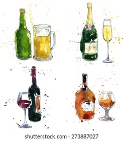 cognac,beer,champagne,wine bottle and glass, drawing by watercolor and ink, hand drawn vector illustration