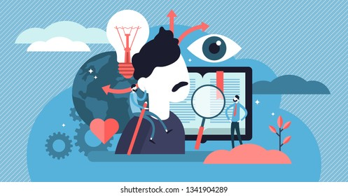 Cognition vector illustration. Flat tiny mental learning persons concept. Symbolic information knowledge study. Abstract brain development and intellect growth. Mind experience understanding process.