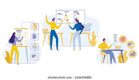 Cognitive Banner Teamwork Task Execution Flat. Successful Time Management. Man Reads Mail and Reaches Goals. Daily Office Life Employees Company. Vector Illustration on White Background.