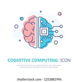 Cognitive Computing Icon. Flat Design. Vector Illustration
