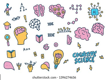 Cognitive science sign collection. Set of vector elements in doodle style.