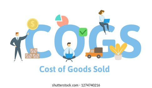 COGS, Cost of Goods Sold. Concept with keywords, letters and icons. Colored flat vector illustration. Isolated on white background.