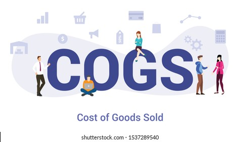 cogs cost of goods sold concept with big word or text and team people with modern flat style - vector
