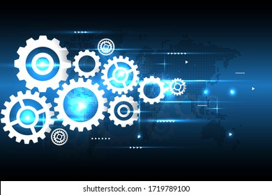Cogs and gear digital,technology and engineering background concept vector design illuustration