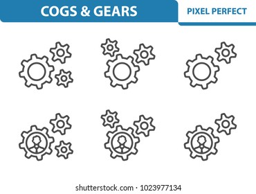 Cogs & Gears Icons. Professional, pixel perfect icons optimized for both large and small resolutions. EPS 8 format. 3x size for preview.