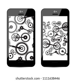 Cogs - Gears on Mobile Phone. Vector Cog, Gear Illustration on Smartphone.
