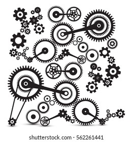 Cogs, Gears. Retro Machinery Vector Symbol.
