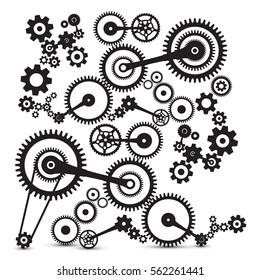 Cogs, Gears. Retro Machinery Vector Symbol.
