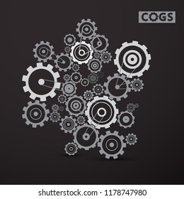 Cogs - Gears Set on Dark Background. Vector Cog, Gear Symbol.
