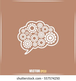 Cogs in the shape of a human brain. Vector Illustration