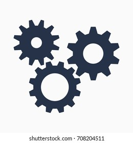 Cogs symbol on white background, settings icon, vector illustration