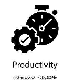 Cogwheel with approval sign and alarm clock in the scene displaying productivity icon