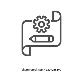 Cogwheel blueprint line icon. Engineering tool sign. Edit settings symbol. Quality design flat app element. Editable stroke Cogwheel blueprint icon. Vector