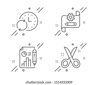 Cogwheel blueprint, Report document and Update time line icons set. Scissors sign. Edit settings, Growth chart, Refresh clock. Cutting tool. Science set. Line cogwheel blueprint outline icon. Vector