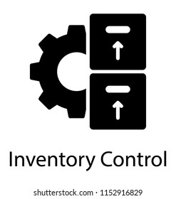 Cogwheel with boxes in front showcasing inventory control icon