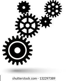 Cogwheel chain. Teamwork, gear