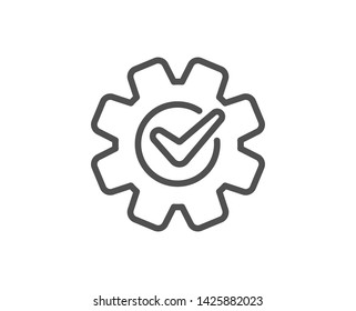 Cogwheel with check line icon. Engineering tool sign. Cog gear symbol. Quality design element. Linear style cogwheel icon. Editable stroke. Vector