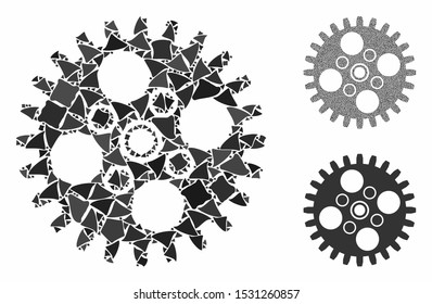 Cogwheel composition of abrupt pieces in variable sizes and shades, based on cogwheel icon. Vector ragged pieces are grouped into composition. Cogwheel icons collage with dotted pattern.