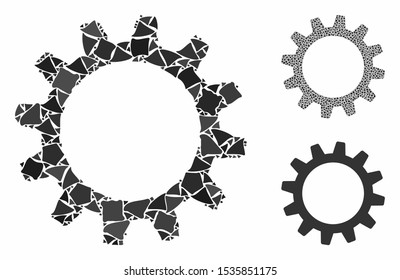 Cogwheel composition of abrupt pieces in various sizes and shades, based on cogwheel icon. Vector tremulant pieces are combined into composition. Cogwheel icons collage with dotted pattern.