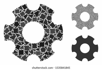 Cogwheel composition of humpy elements in variable sizes and shades, based on cogwheel icon. Vector inequal elements are united into illustration. Cogwheel icons collage with dotted pattern.