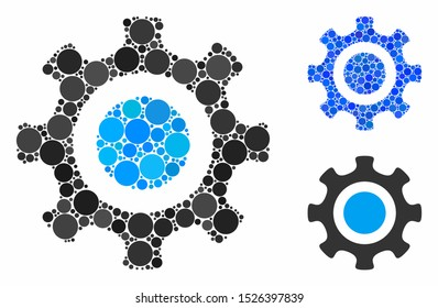 Cogwheel composition for cogwheel icon of small circles in variable sizes and color tinges. Vector filled circles are grouped into blue composition. Dotted cogwheel icon in usual and blue versions.