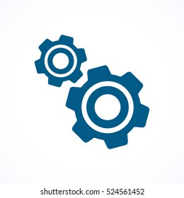 Cogwheel and development blue flat  icon