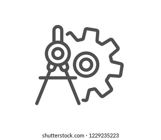 Cogwheel dividers line icon. Engineering tool sign. Cog gear symbol. Quality design flat app element. Editable stroke Cogwheel dividers icon. Vector