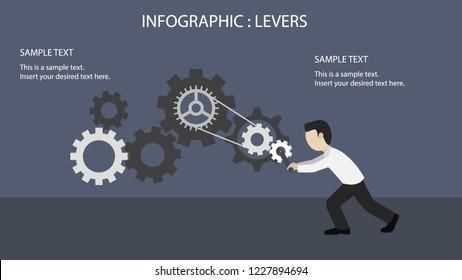 Cogwheel element mechanism technology drive push business to key achieve success info graphic for artwork clip art flat design vector infographics.