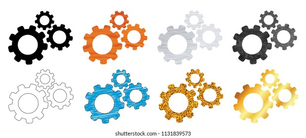 Cogwheel gear mechanism metal gold wood aluminium cupper person Vector template vintage Service gears edit icon cogs sign cog icon settings icon of gears setting signs machine machinery 3d stone brain