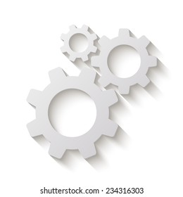 cogwheel gear mechanism vector icon - paper illustration