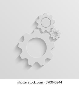 cogwheel gear mechanism vector paper icon