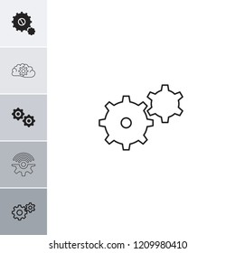 Cogwheel icon. collection of 6 cogwheel filled and outline icons such as gear. editable cogwheel icons for web and mobile.